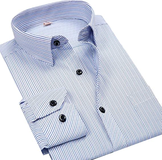 0327c82f446c79 ainr Men's Fitted Spread Collar Long Sleeve Pinstripes Non-Iron Shirt ...