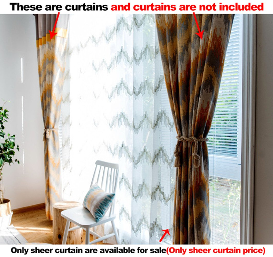 Aside Bside Transverse Waves Knitting Rod Pockets Sheer Curtains Fashion Style Home Treatment Voile Panels For Child Room Houseroom and Kitchen (1 Panel, W 52 x L 63 inch, White)