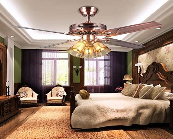 Ventilador de techo, luz de hoja de hierro, estilo europeo ...