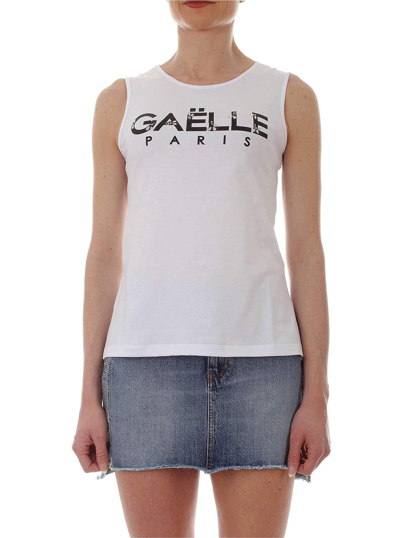 Gaelle Paris Women's GBD4462WHITE White Cotton Tank Top