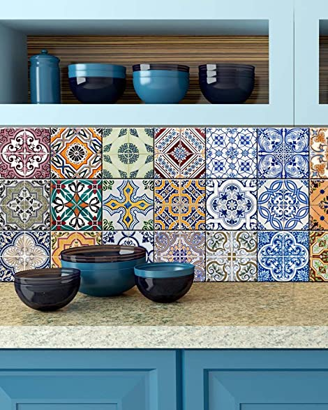 Tile Stickers 24 PC Set Authentic Traditional Portuguese Bathroom U0026 Kitchen  Tile Decals Easy To Apply