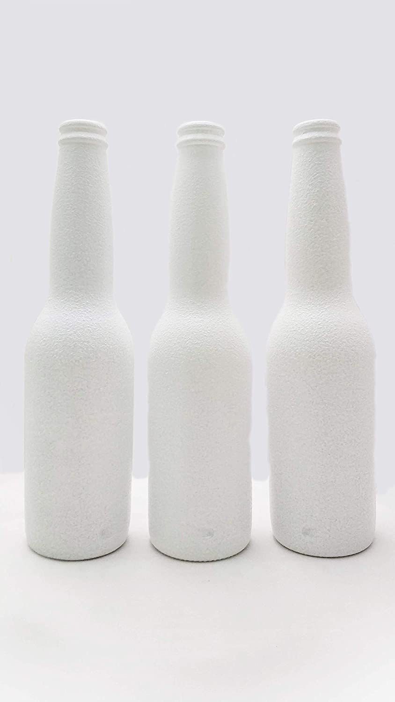 Botellas con suerte - Pack 3 Botellitas Cerveza Corona Decoración Botella Vidrio Blancas con Relieve para Decorar de 24 cm de Alto: Amazon.es: Hogar