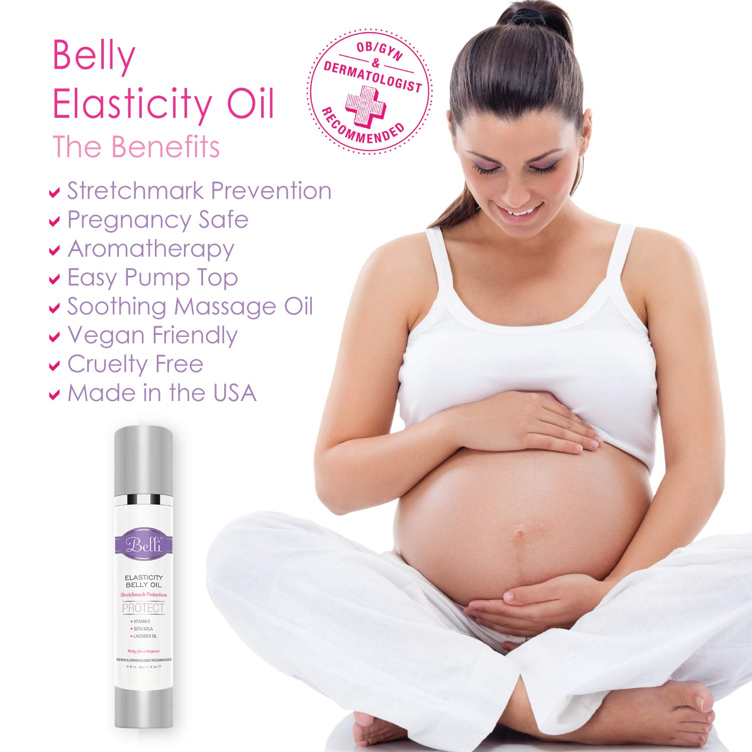 Belli Elasticity Belly Oil – Stretch Mark Protection for Smooth, Healthy Skin – OB/GYN and Dermatologist Recommended – 3.8 oz.