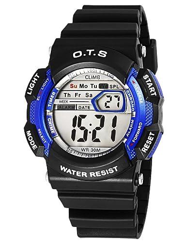 OTS - Reloj Digital Deportivo Impermeable Luminoso de Cuarzo con Alarma Cronómetro para Niños y Estudiantes - Color Azul: Amazon.es: Relojes
