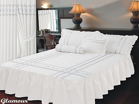Dimensioni letto singolo lenzuolo copriletto glamour bianco con