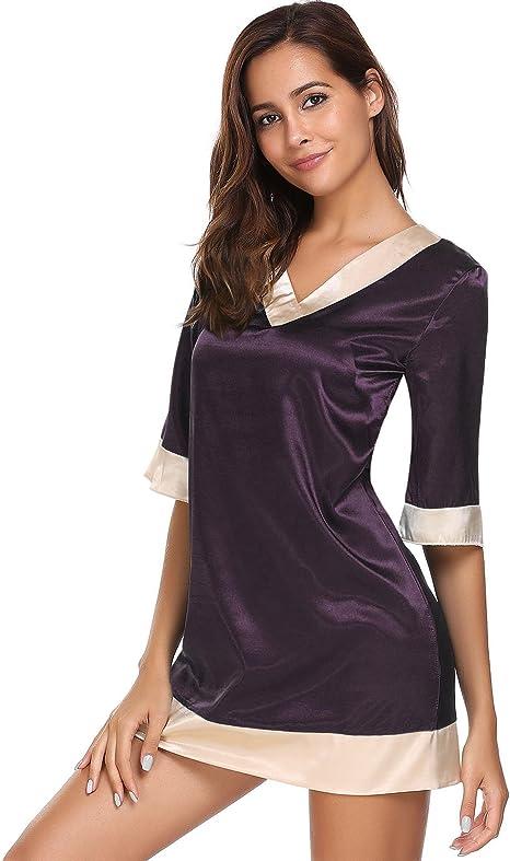 ADOME Damen V-Ausschnitt Langarm Nachthemd Nachtw/äsche Knopfleiste Sleepshirt Schlafanzugoberteil