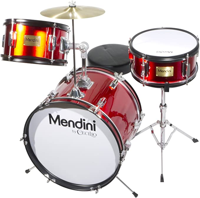 MJDS-5-BR Pedal /& Drumsticks Metallic Bright Red Mendini by Cecilio 16 inch 5-Piece Complete Kids // Junior Drum Set with Adjustable Throne Cymbal