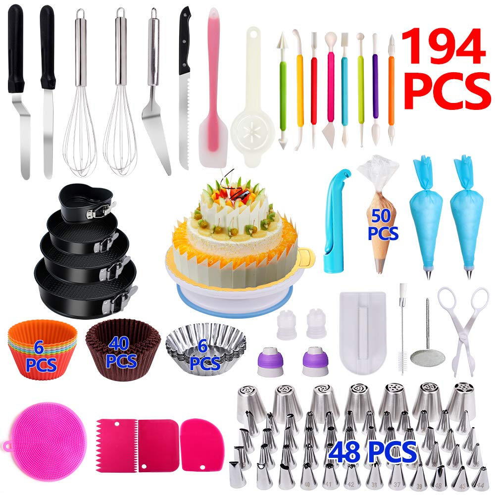 Cake Decorating Supplies,194 PCS Complete Baking Set with 4 Packs Springform Pan Sets,136 PCS Decorating Kits and 6 Muffin Cup Molds, Perfect Cake Baking Supplies for Beginners and Cake Lovers. by KOSBON (Image #1)