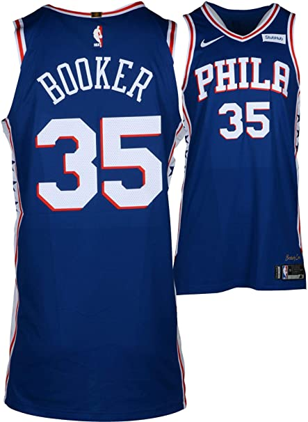 73c341f7610 Trevor Booker Philadelphia 76ers Player-Issued  35 Blue Jersey from the 2017 -18