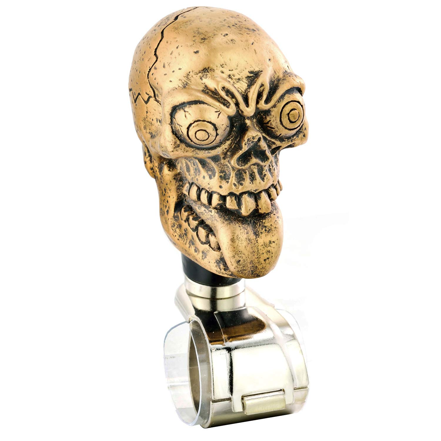 Bronze Lunsom Skull Shape Steering Suicide Spinner Big Eyes Resin Car Driving Wheel Knob Aid Turning Handle Control Grip Booster Fit Universal Vehicle
