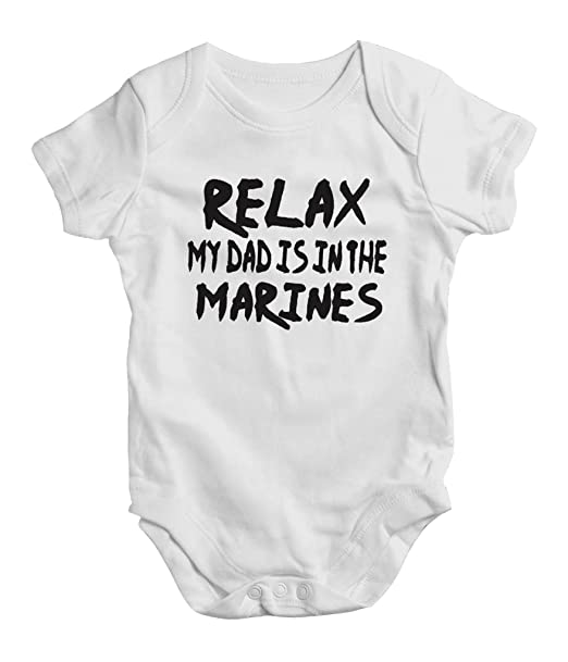 e0baf6374 Amazon.com: Relax My Dad is in The Marines, Funny Baby Bodysuit, One ...