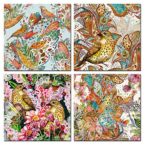 Live Art Decor- Bird`s Dreams,Vintage Cute Bird Canvas Print Framed Active Spring Landscape Painting Giclee Art Work 4 Panels Butterfly Flowers Canvas Wall Art for Wall Decoration (Vintage Bird Paintings)