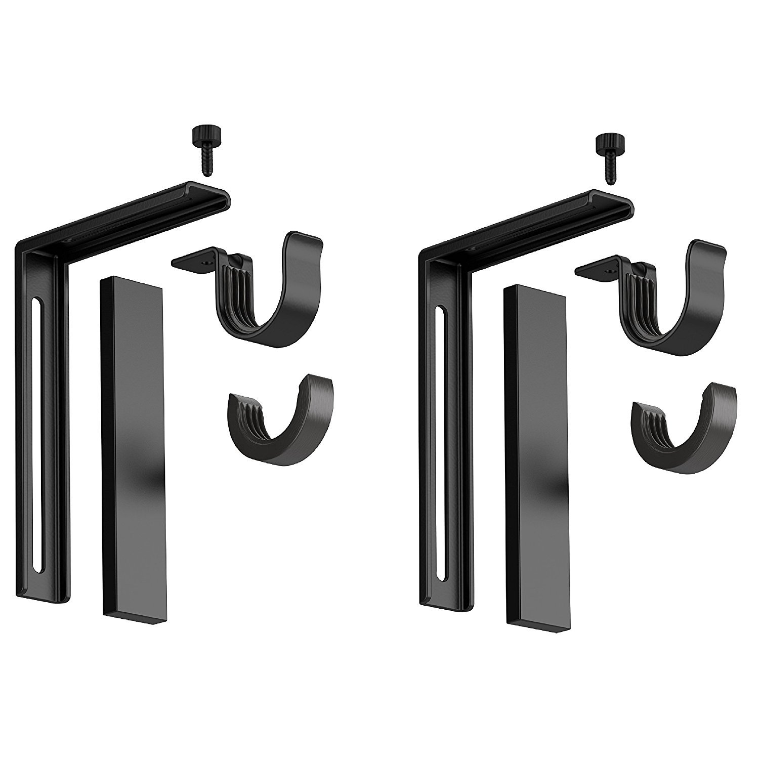 Set of 2 Ikea Betydlig Wall or Ceiling Curtain Rod Brackets Steel Black Adjustable