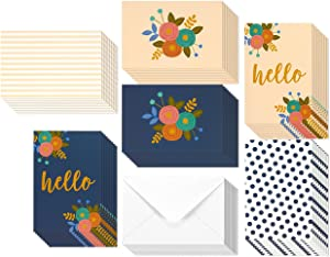 48 Pack All Occasion Hello Greeting Cards with Envelopes, 6 Floral Flower Designs Blank Note Bulk Set for Thank You, Birthday, Baby Shower, 4 x 6 Inches