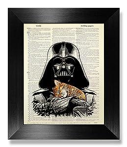 Funny Star Wars Wall Art Print, Star Wars Gift for Man Boy Woman Kids Room Decor, Darth Vader with Sleepy Cat Print, Office Wall Decor, Boyfriend Gift Husband Birthday, Living Room Decor Cheap Stuff