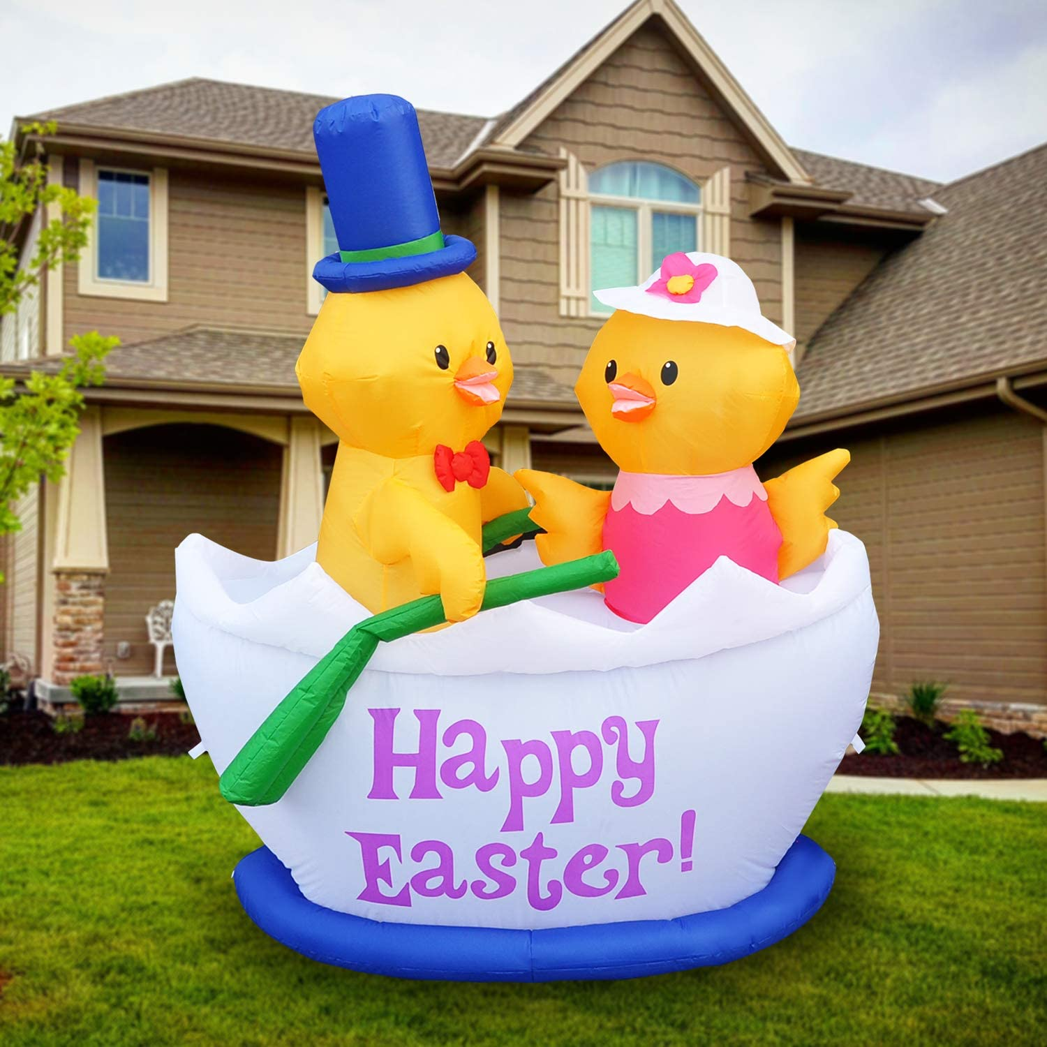 SEASONBLOW 5 FT LED Light Up Inflatable Chicks in Easter Egg Boat Blow Up for Yard Lawn Garden Home Outdoor Indoor Holiday Decor