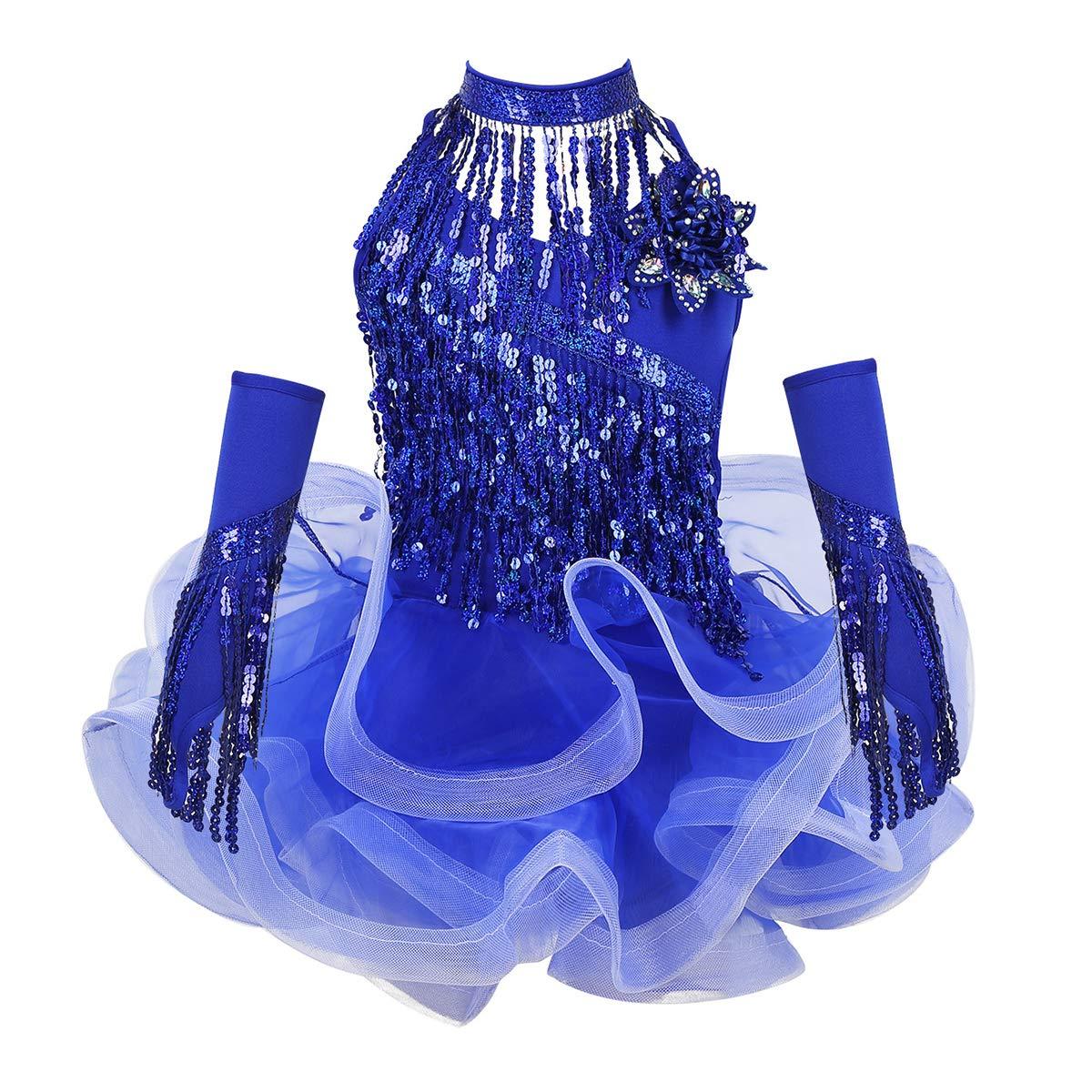 CHICTRY Vestido de Lat/ín Ni/ñas 4Pcs Vestido de Tut/ú+Collar+Manguitas+Pantalones Cortos Body Baile con Lentejuelas 3-14 A/ños