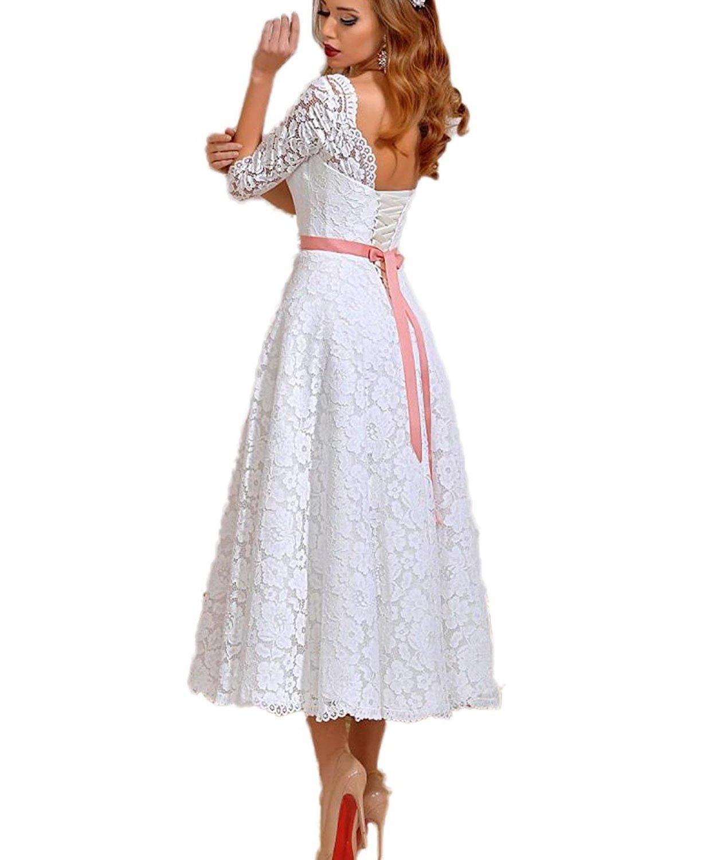 Schön Vintage Brautkleider Tee Länge Galerie - Hochzeit Kleid Stile ...