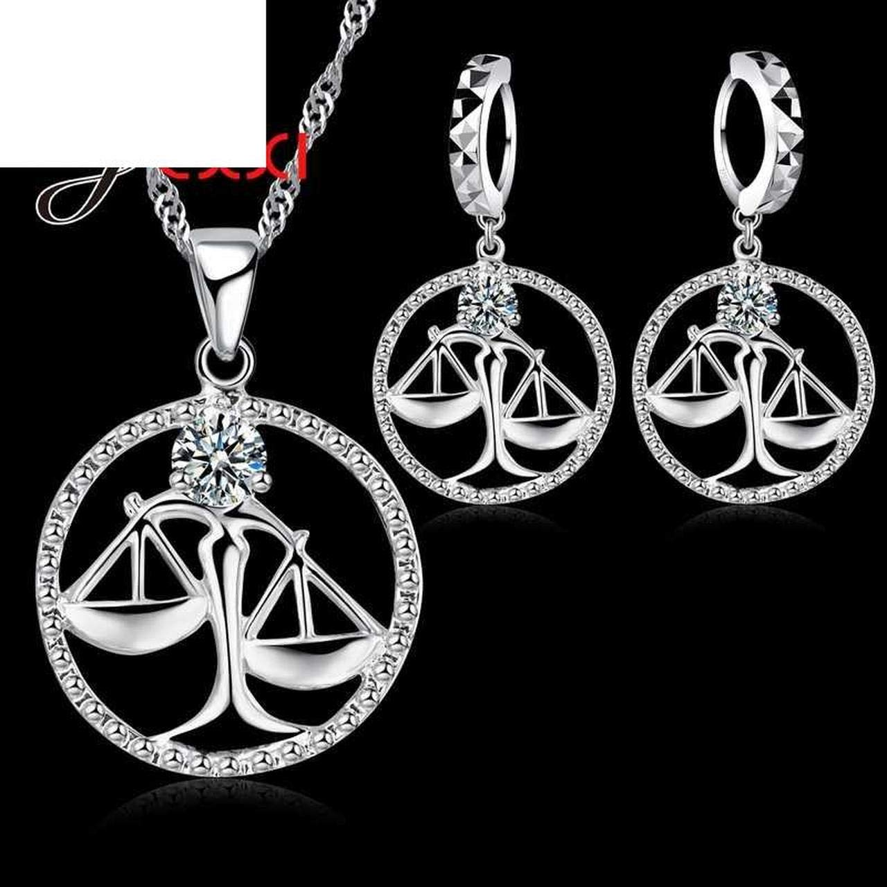 Ingenious Libra Necklace Pendant 925 Sterling Silver Necklace/&Earrings Jewelry Sets Accessories for Girlfriend Gife