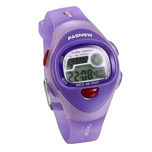 JewelryWe Relojes para Niños Niñas Reloj Deportivo Digital Para Aire Libre Reloj Infantil De Colores Correa de Silicona Suave Color Violeta para el Verano: ...