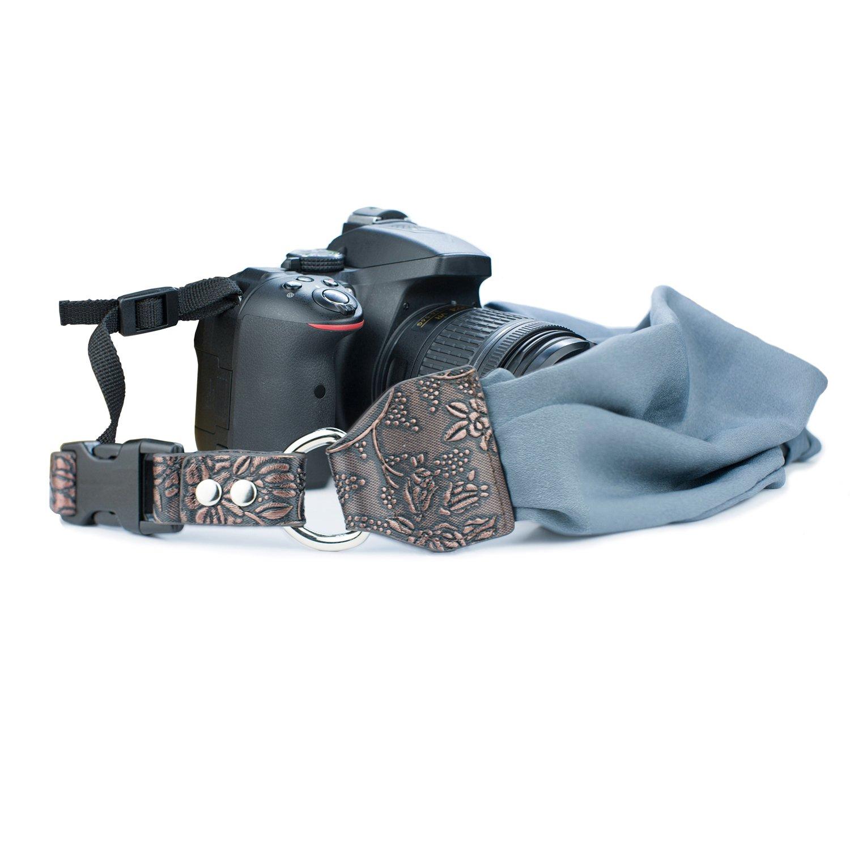 Red Camera Strap Scarf Vintage Plaid Fabric DSLR Universal Neck Shoulder Belt for Women by Deanoy