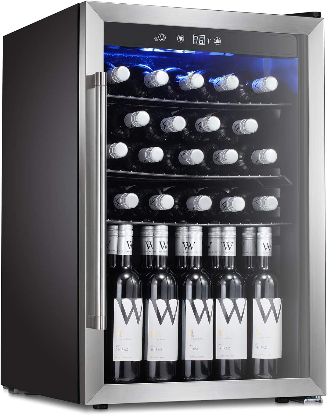 NutriChef 16 Bottle Thermoelectric Red And White Wine Cooler Chiller, Counter Top Wine Cellar with Digital Control, Freestanding Refrigerator, Smoked Glass Door, Quiet Operation Fridge