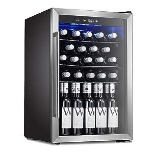 Antarctic Star Wine Cooler Beverage Refrigerator 36 Bottles Beer Wine Cellar Fridge Freestanding Chiller Stainless Steel & Quiet Operation Compressor Counter Top Glass Door/Digital Memory Office/Dorm