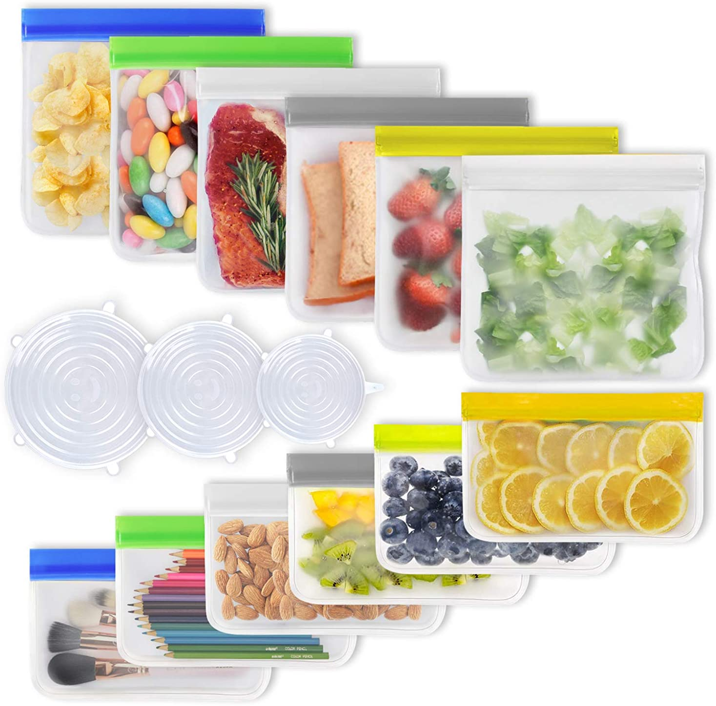 Reusable Food Storage Bags & Silicone Stretch Lids -15 pack (6 Sandwich + 6 Snack + 3 Lids)-Freezer Safe BPA Free PEVA
