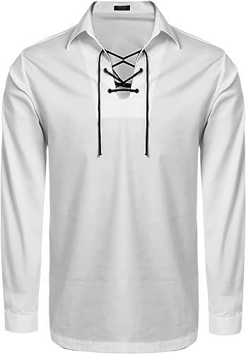 JINIDU - Camisas escocesas para hombre de Jacobite Ghillie Kilt camisas casual de manga larga con cordones, camisas de disfraz de pirata renacentista medieval: Amazon.es: Ropa y accesorios