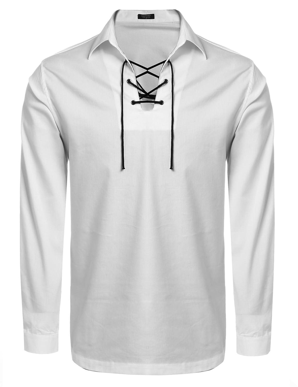 COOFANDY Mens Scottish White Jacobite Ghillie Kilt Shirt ETJ005143