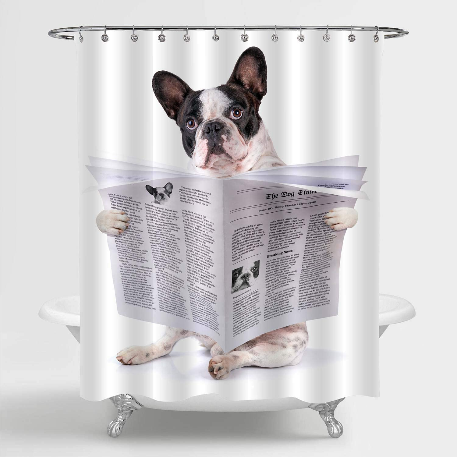 "MitoVilla Cartoon Dog Shower Curtain, Funny French Bulldog Reading Newspaper Painting Bathroom Accessories for Pet Themed Baby Kids and Animal Lovers Room Decor, 72"" W x 78"" L Long for Shower Tub"