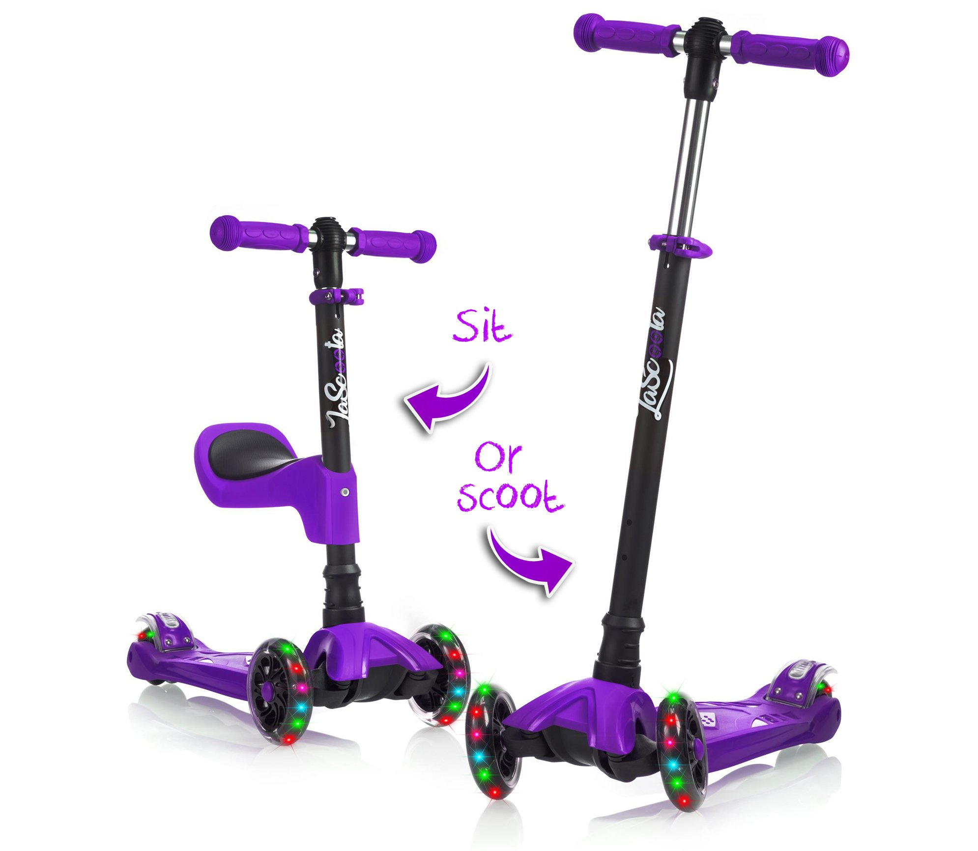 LaScoota 2-in-1 Kick Scooter with Removable Seat great for kids & toddlers Girls or boys – Adjustable Height w/Extra-wide Deck PU Flashing Wheels for Children from 2 to 14 Year-Old (Purple)