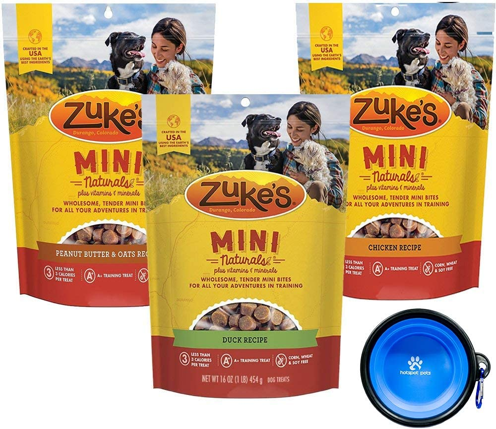 Zuke s Natural Mini Treats for Dogs Variety Bundle 3 Pack – 36 Ounce Total Chicken, Duck Peanut Butter With Hotspot Pet Travel Bowl