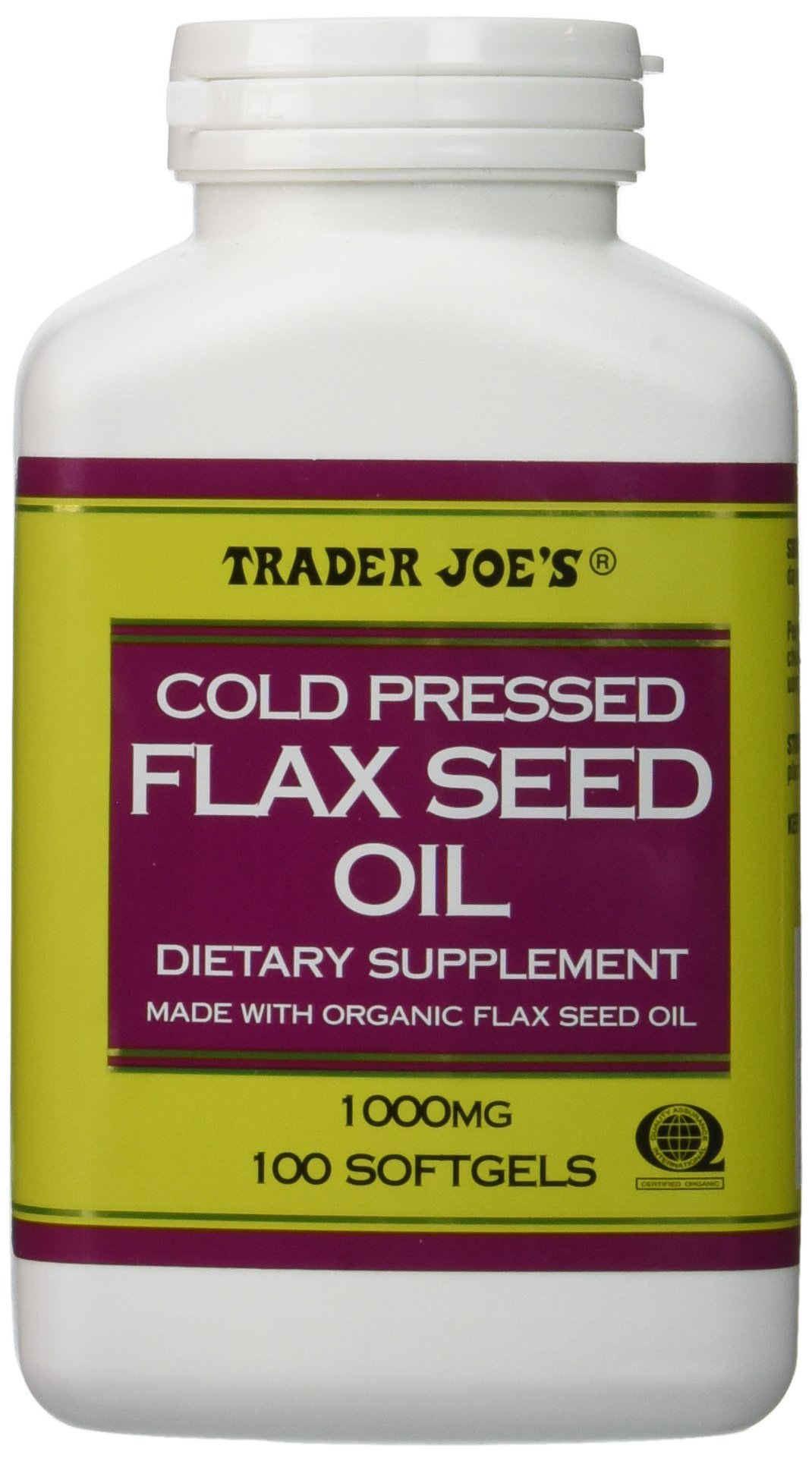 Trader Joe's Cold Pressed Flax Seed Oil Dietary Supplement Made with Organic Flaxseed Oil 1000 Mg / 100 Softgels No Gluten Ingredients Used Many Health Benefits !!!!! by Trader Joe's