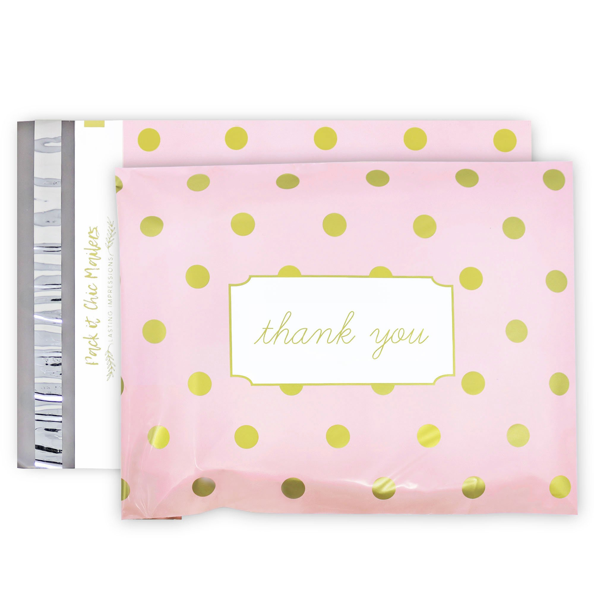 "Pack It Chic - 10"" X 13"" (100 Pack) Pink Polka Dot - Thank You Poly Mailer Envelope Plastic Custom Mailing & Shipping Bags - Self Seal (More Designs Available)"