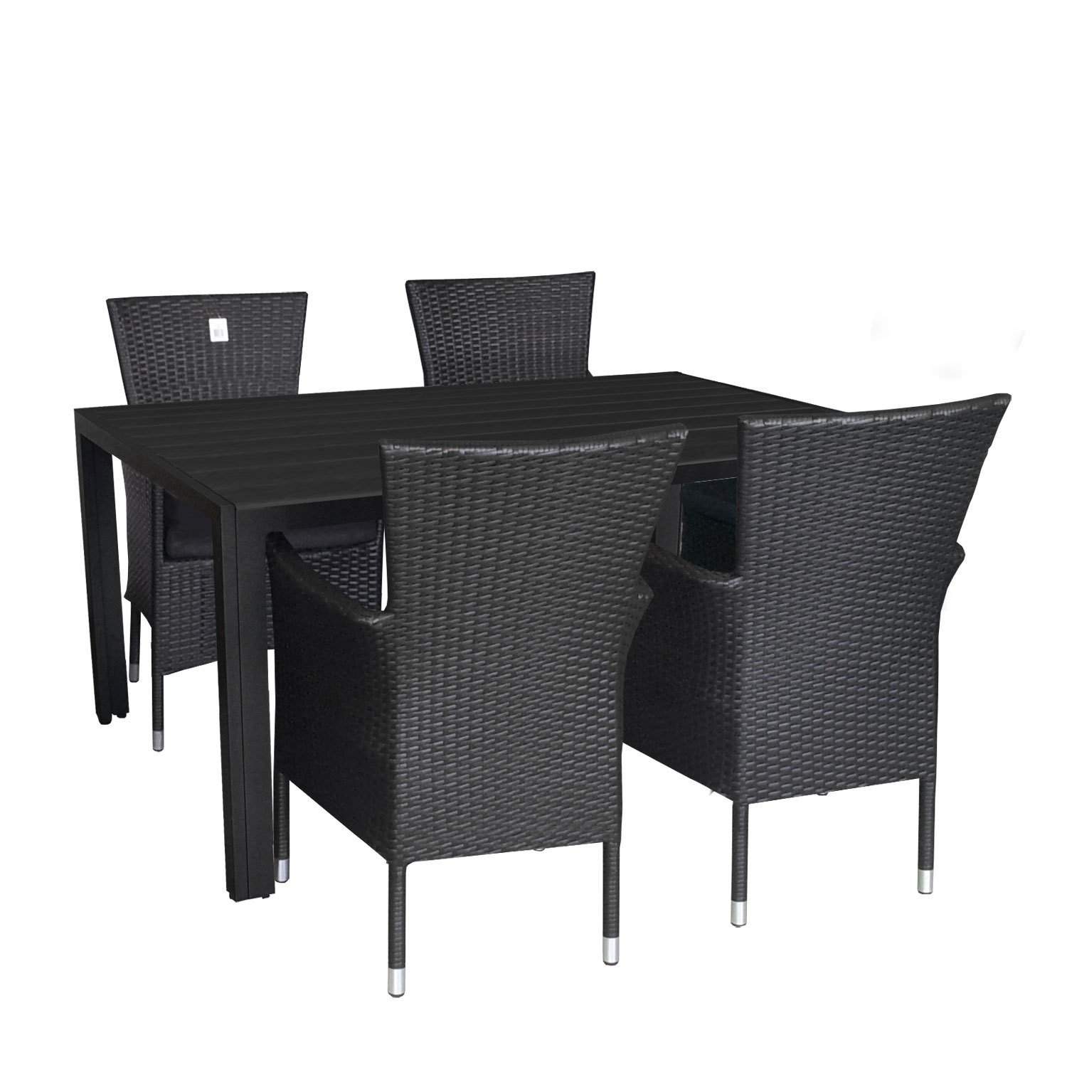 5tlg gartengarnitur terrassenm bel set aluminium polywood tisch 150x90cm alu poly rattan sessel. Black Bedroom Furniture Sets. Home Design Ideas