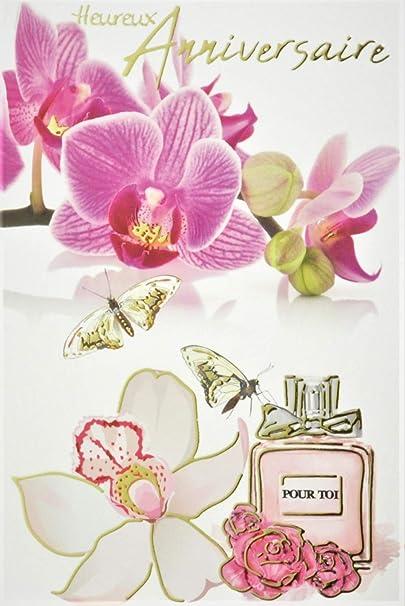 Afie 65 1238 Carte Heureux Anniversaire Fleurs Orchidees Roses Blanches Papillons Flacon De Parfum Avec Dorure Or Dore Fabrique En France Amazon Fr Fournitures De Bureau