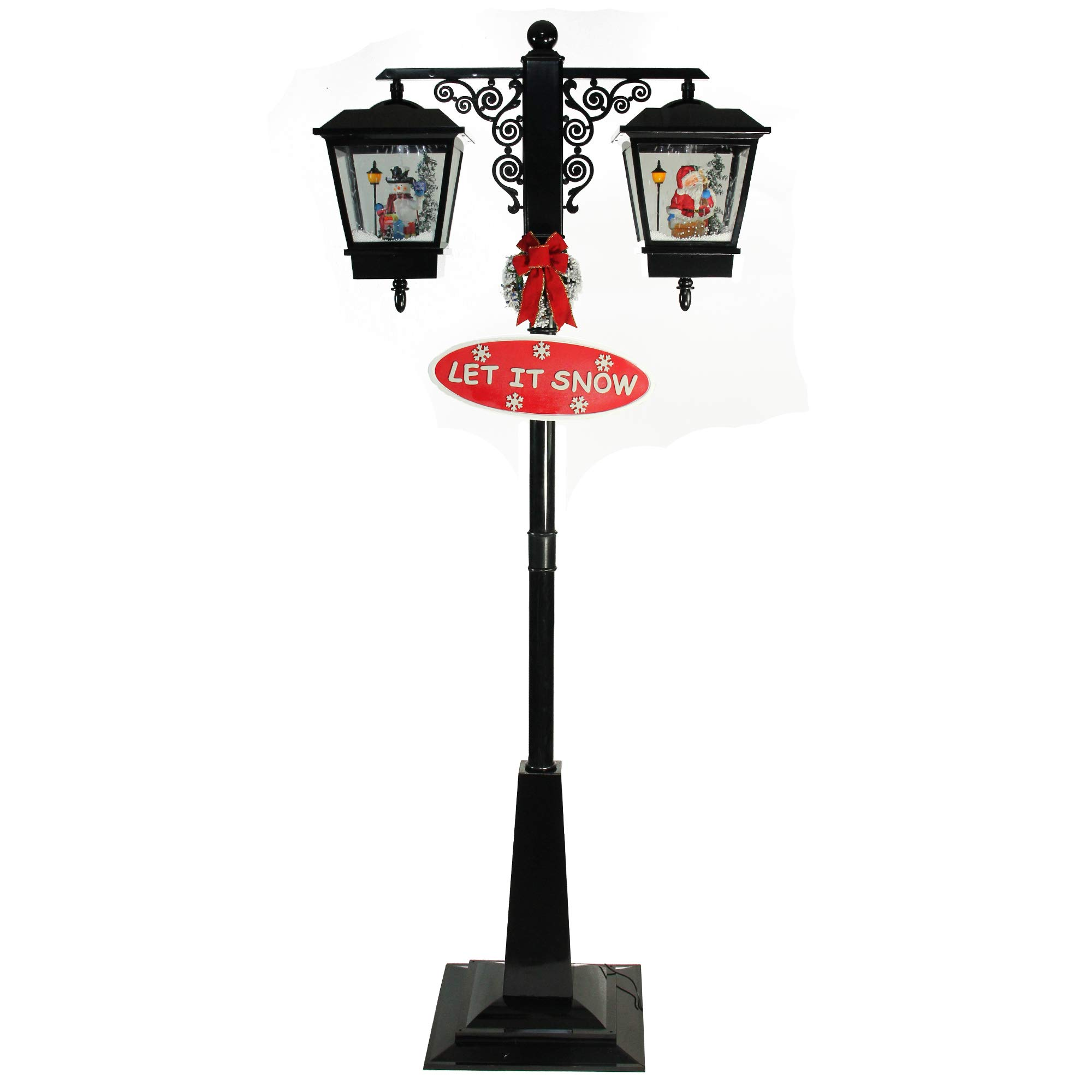 Northlight 74'' Lighted Black Musical Snowing Santa and Snowman Double Christmas Street Lamp