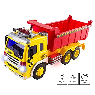 Vokodo Construction Garbage Truck With Lights And Sounds Lift Up Back Friction Powered Durable Kids Dump Sanitation Push And Go Toy Car Pretend Play Vehicle Great Gift For Children Boys Girls Toddlers: Toys & Games