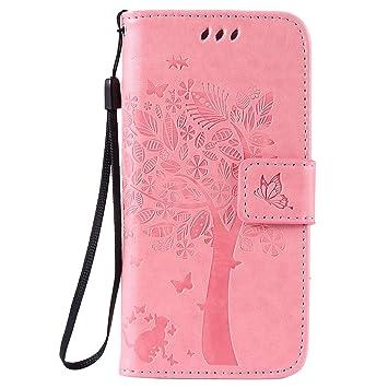 pinlu Flip Funda de Cuero para OnePlus 3/OnePlus 3T Carcasa con Función de Stent y Ranuras con Patrón de Gato y Árbol Cover (Rosa)