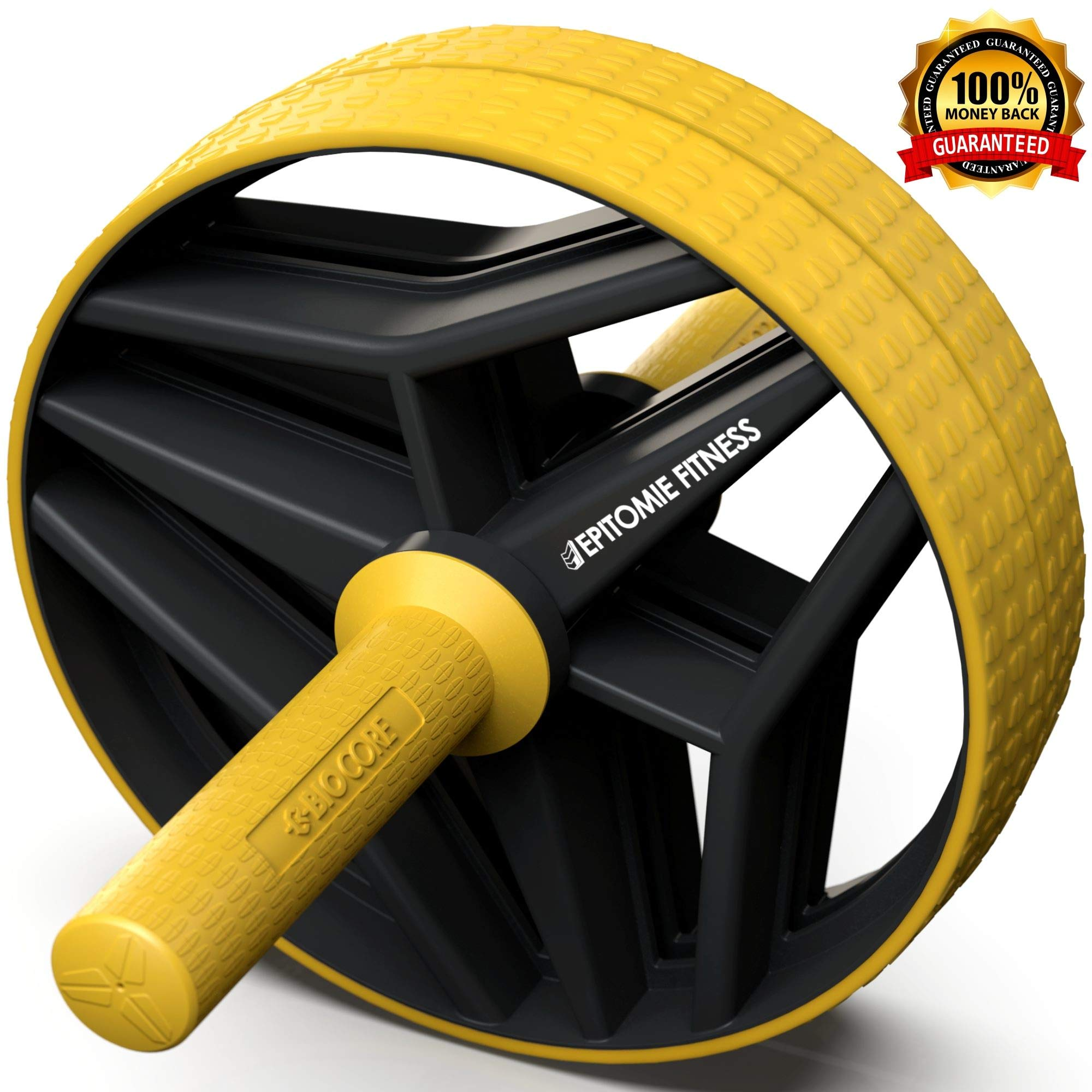 Epitomie Fitness BIO Core Ab Roller Wheel with 2 Configurable Wheels and Non-Slip Handles - Ab Wheel Trainer with Kneeling Mat for Strong Core (Yellow/Black)