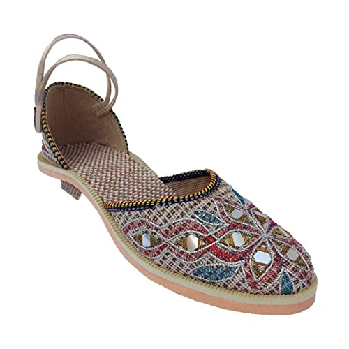 d0bb0cfb5ea Walk Street Rajasthani Ethnic Embroidered and Mirror Work Jute Mojri   Shoes    Sandal   Chappal (IND-0199-RED-8)  Buy Online at Low Prices in India ...