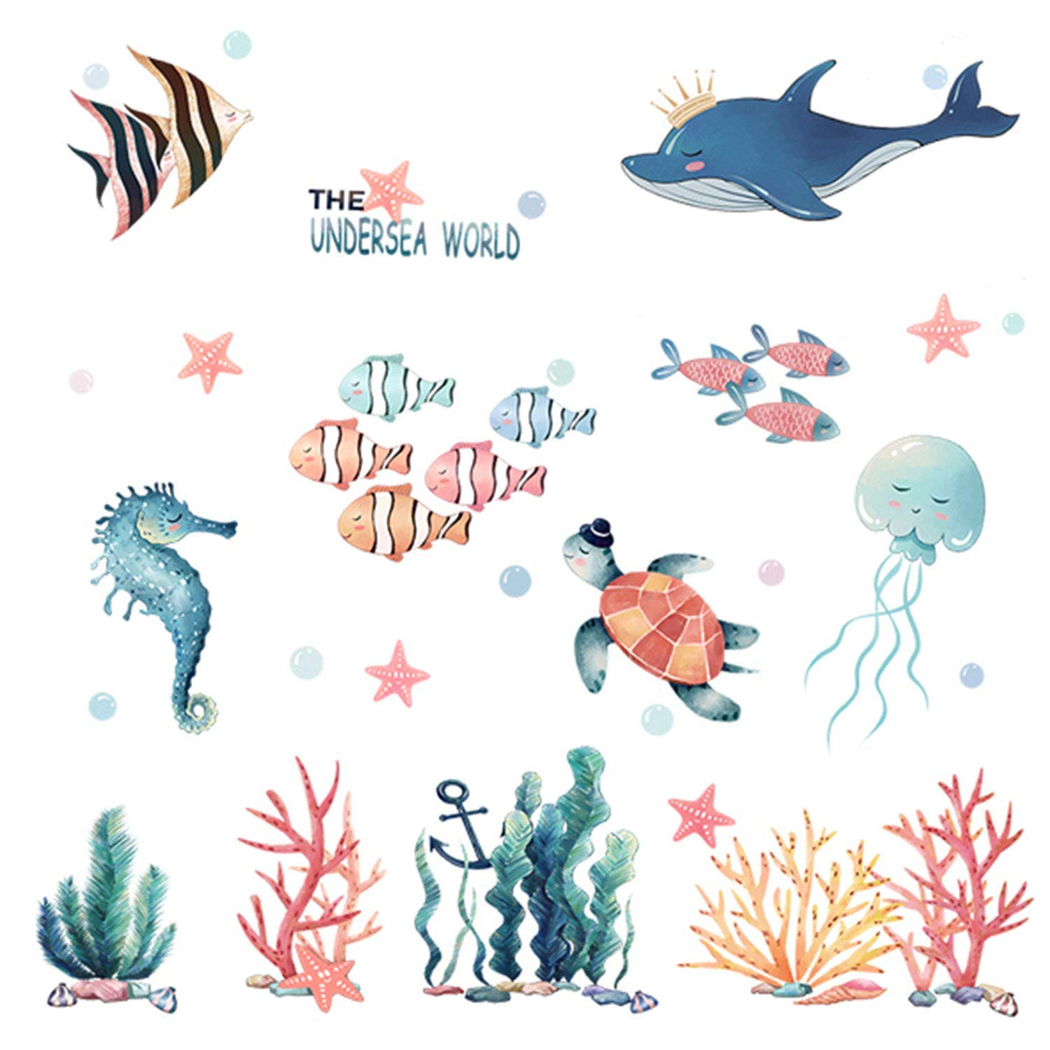 RW-1012 3D Under The Sea View Wall Sticker Ocean Animals Coral Wall Stickers Removable Peel and Stick Home Wall Art Decor for Girls Boys Kids Babys Bedroom Offices Living Room Bathroom (Fish)