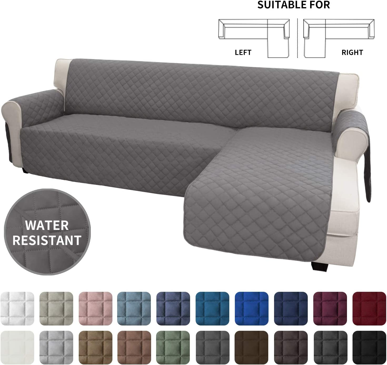 Easy-Going Sofa Slipcover L Shape Sofa Cover Sectional Couch Cover Chaise Lounge Slip Cover Reversible Sofa Cover Furniture Protector Cover for Pets Kids Children Dog Cat (Small,Gray/Gray)