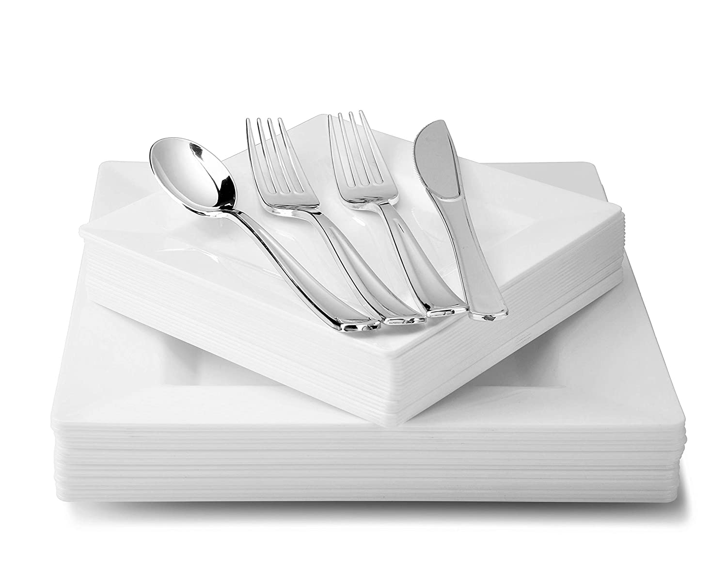 Square White 720 pcs (120 guests) OCCASIONS 720 PCS   120 GUEST Wedding Disposable Plastic Plate and Silverware Combo Set (Diamond White Silver Plates, Silver Silverware)