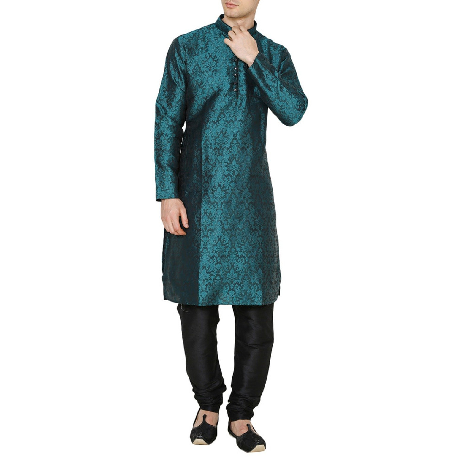 RUCHI MART Men's Ethnic Wedding Wear Kurta Pajama Jacquard Silk Churidar Dress
