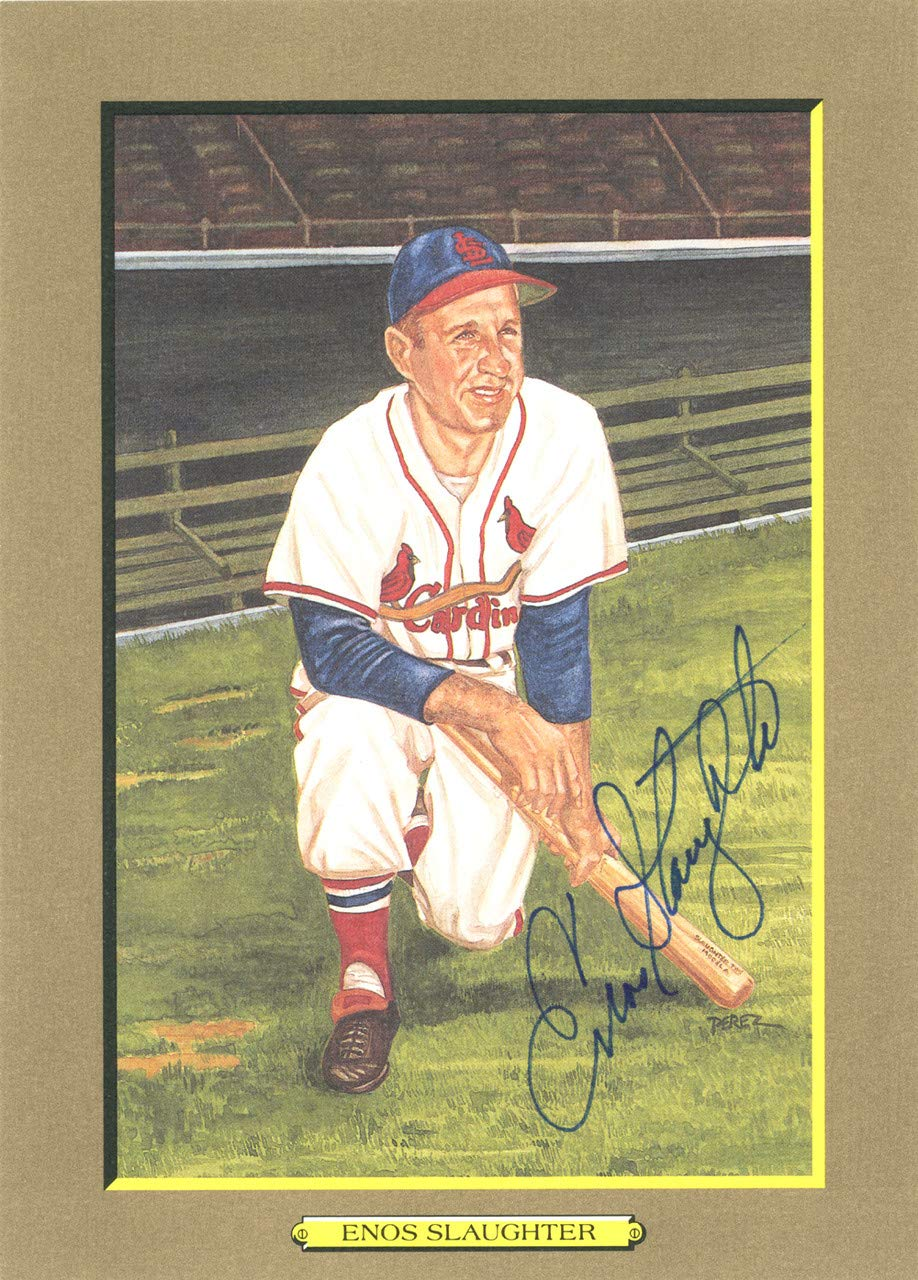 Enos Slaughter Signed 1988 Perez Steele Great Moments Postcard #29 St. Louis Cardinals Certified Authentic
