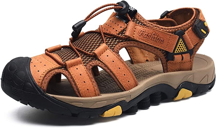 visionreast Sandale Homme en Cuir Randonnée et Aquatique Sandale d'été Extérieur