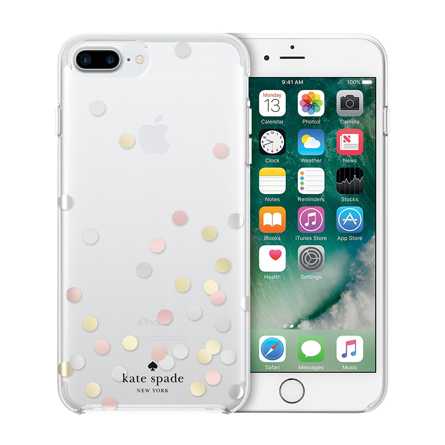 Kate Spade Protective Hardshell Case,Clear/Confetti Dot Silver Foil/Gold Foil/Rose Gold Foil, I Phone 8 Plus,7 Plus,6 Plus by Kate Spade New York