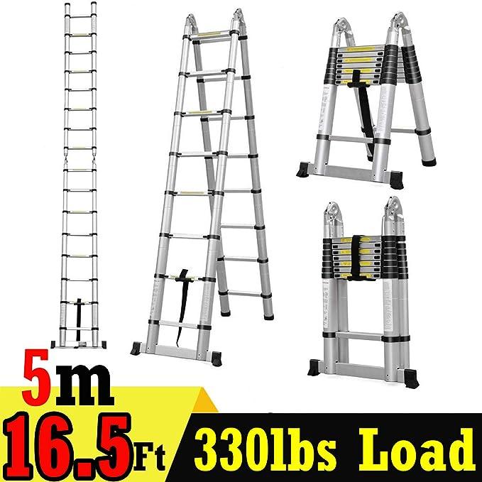 Escalera telescópica doble de aluminio de 5 m y 8,25 pies y 8,25 pies, portátil, plegable, multiusos, diseño de ático, plegable, para decorar el hogar, casa, garaje, 330 libras: Amazon.es: Bricolaje y herramientas
